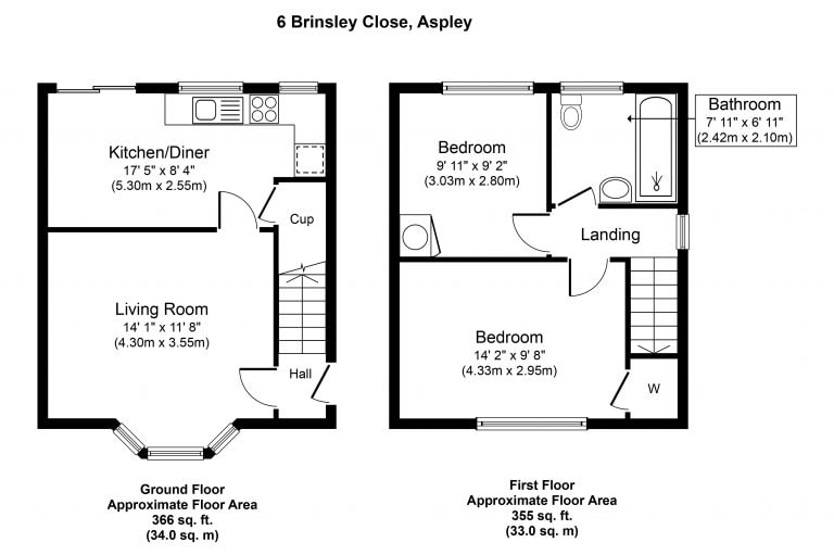Floorplan - 6 Brinsley Close, Aspley